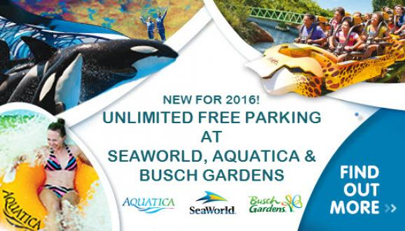Unlimited FREE parking at SeaWorld Aquatica and Busch Gardens