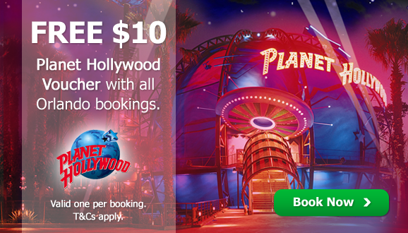 FREE $10 Planet Hollywood Voucher with EVERY Booking