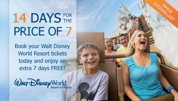 2015 Disney Florida Ticket Offer - 14 Days for 7!