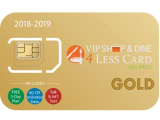 Orlando VIP Shop & Dine 4 Less Card GOLD